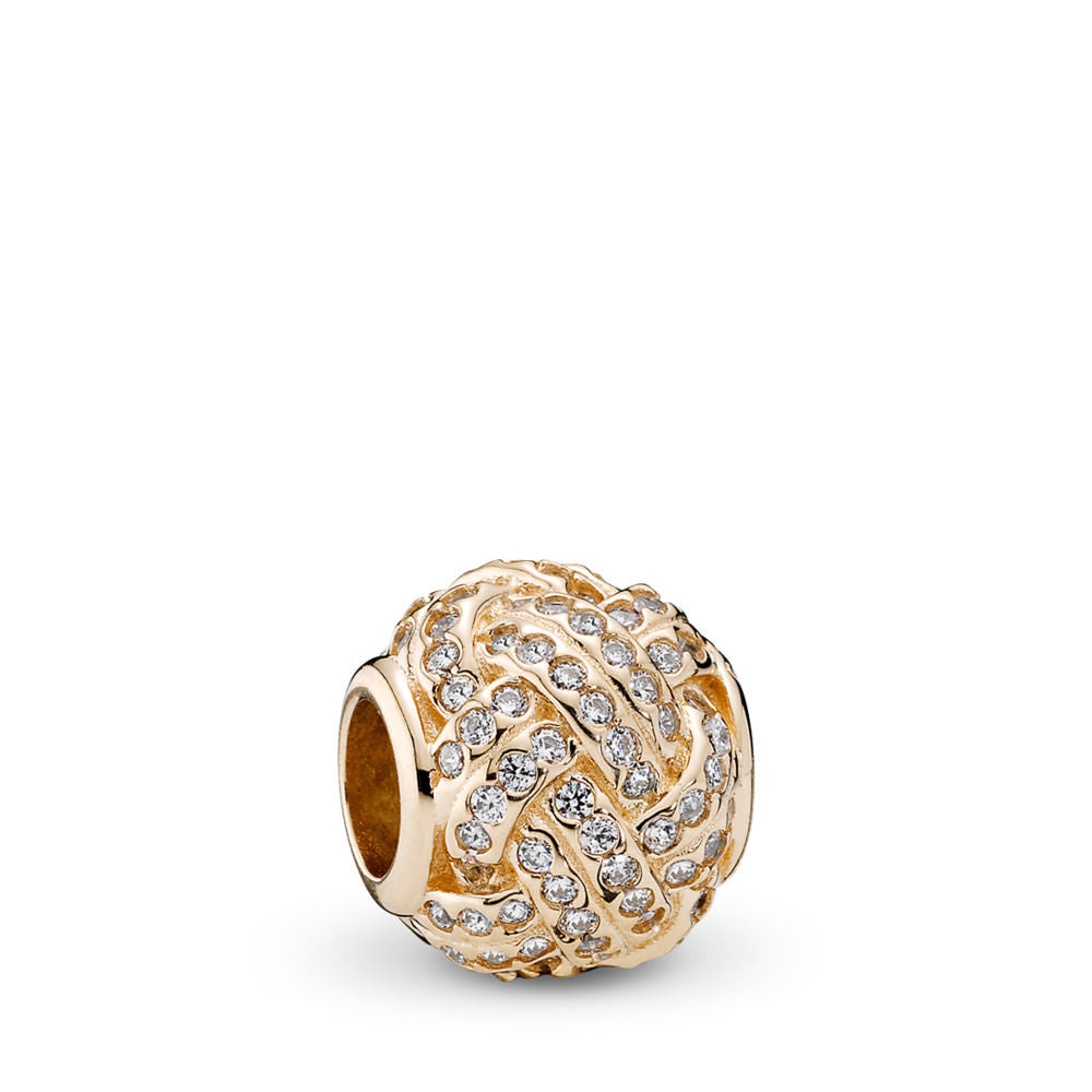 Pandora Sparkling Love Knot Charm, 14K Gold & Clear CZ
