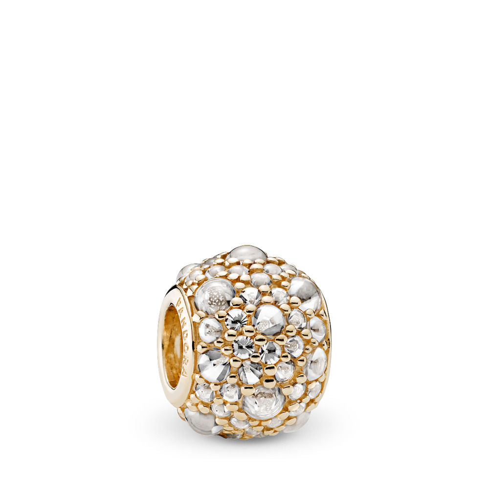Pandora Shimmering Droplets Charm, 14K Gold & Clear CZ