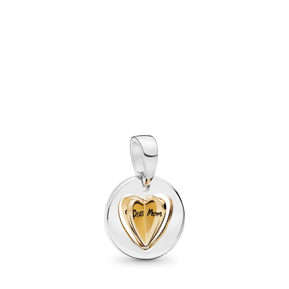 PANDORA Mom's Golden Heart Dangle Charm