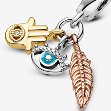Load image into Gallery viewer, Hamsa, All-seeing Eye & Feather Spirituality Dangle Charm