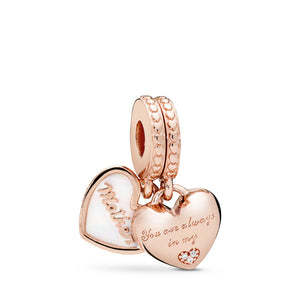 PANDORA Mother & Daughter Hearts Dangle Charm, PANDORA Rose , Silver Enamel & Clear CZ