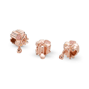 Pandora Wildflower Meadow Charm, PANDORA Rose, Blush Pink Crystal & Pink Enamel