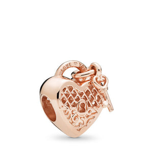 Pandora Love You Lock Charm, PANDORA Rose