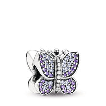 Load image into Gallery viewer, Pandora Sparkling Butterfly Charm, Purple CZ