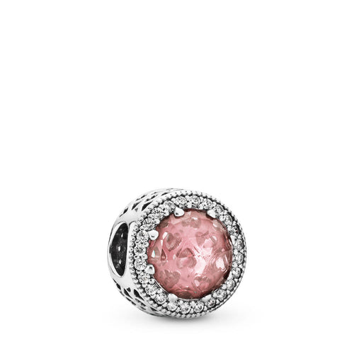 Pandora Radiant Hearts Charm, Blush Pink Crystal & Clear CZ