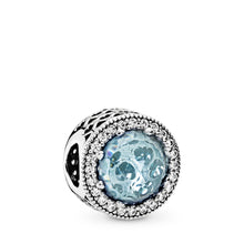 Load image into Gallery viewer, Pandora Radiant Hearts Charm, Glacier-Blue Crystals & Clear CZ
