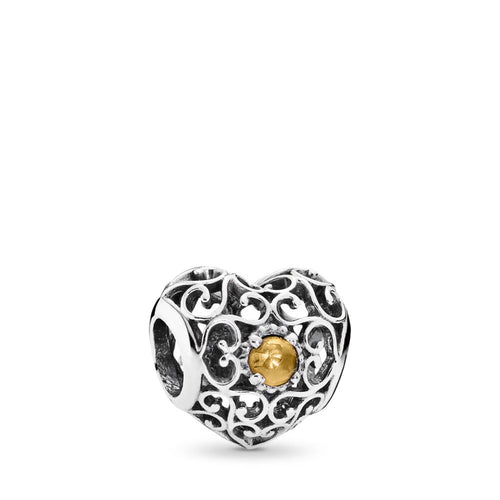 Pandora November Signature Heart Charm, Citrine