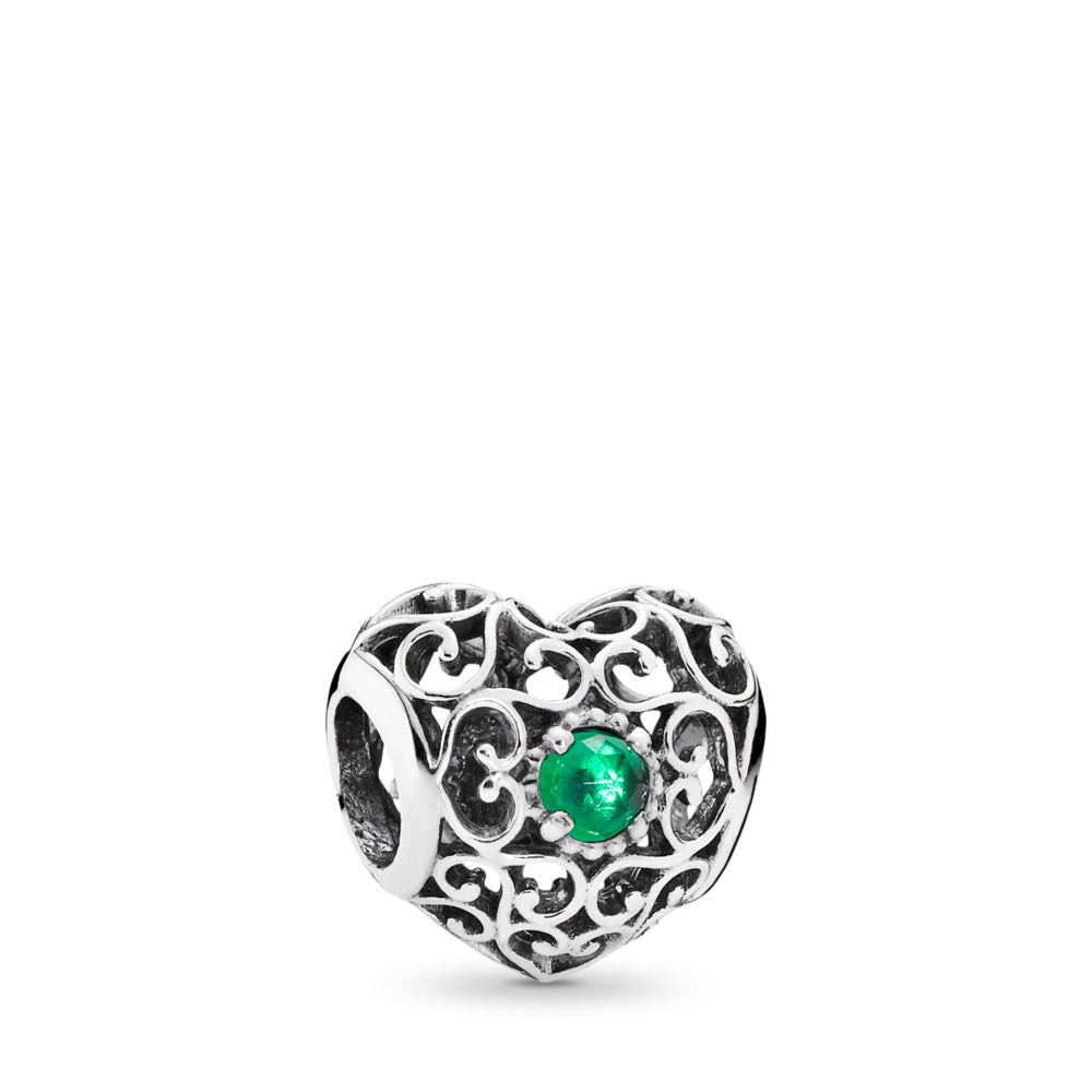 Pandora May Signature Heart Charm, Royal Green Crystal