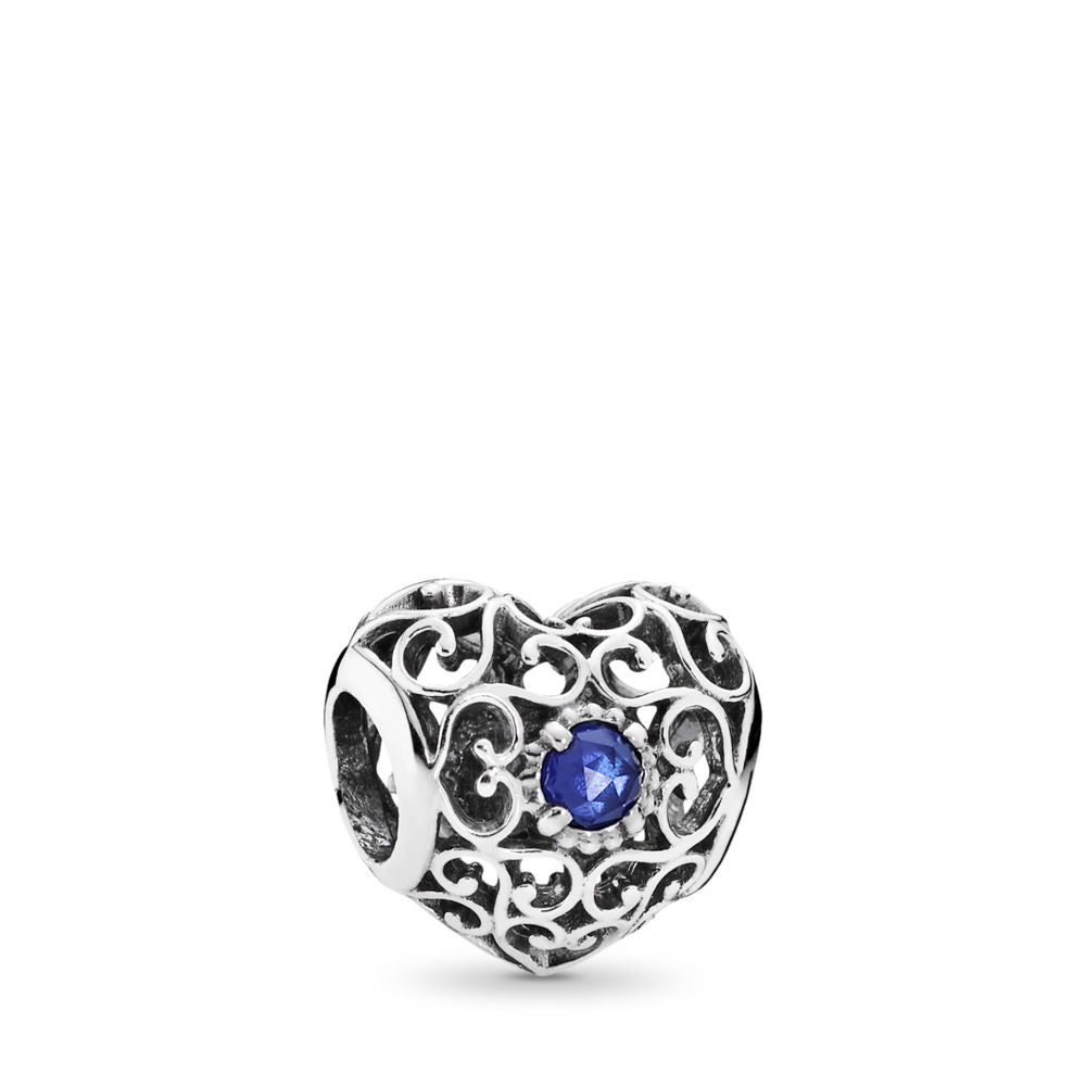 Pandora September Signature Heart Charm, Synthetic Sapphire