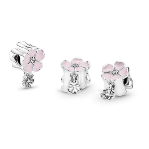 Pandora Poetic Blooms, Soft Pink Enamel & Clear CZ