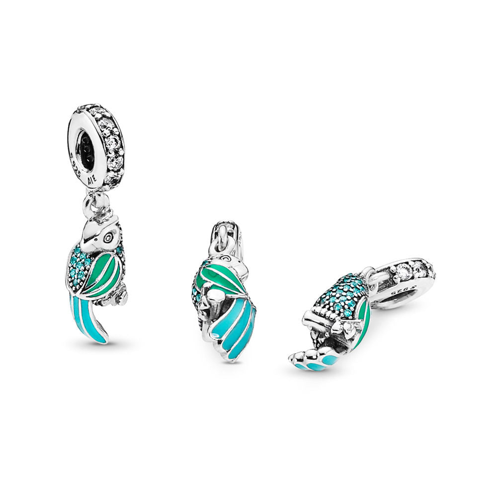 PANDORA Tropical Parrot Dangle Charm, Mixed Enamels, Teal & Clear CZ