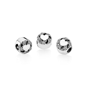 Pandora Ribbon Heart Charm, Clear CZ
