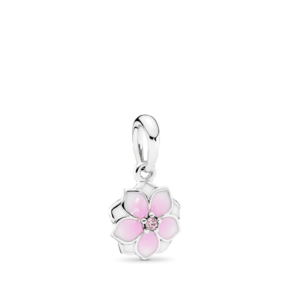 PANDORA Magnolia Bloom Dangle Charm, Pale Cerise Enamel & Pink CZ