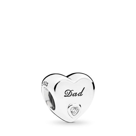 Pandora Dad's Love Charm, Clear CZ
