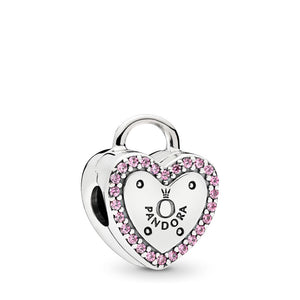 PANDORA Lock Your Promise Clip, Fancy Fuchsia Pink CZ