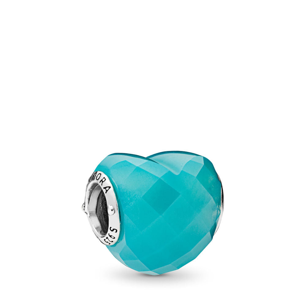 Pandora Shape of Love Charm, Scuba Blue Crystal