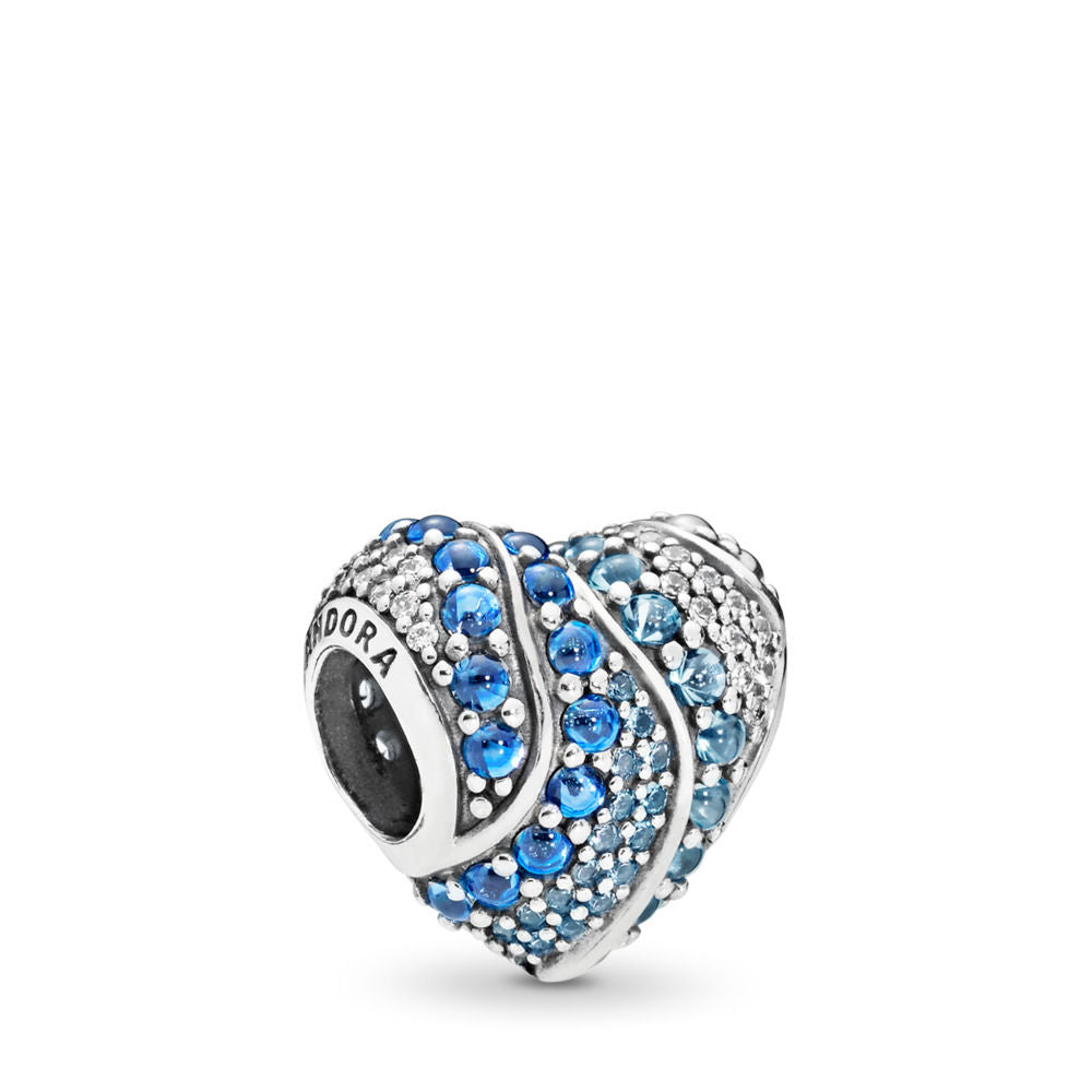 Pandora Aqua Heart Charm, Aqua & London Blue Crystals & Clear CZ
