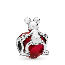 Load image into Gallery viewer, Pandora Disney, Mickey Love Heart Charm, Fuchsia Rose Crystal