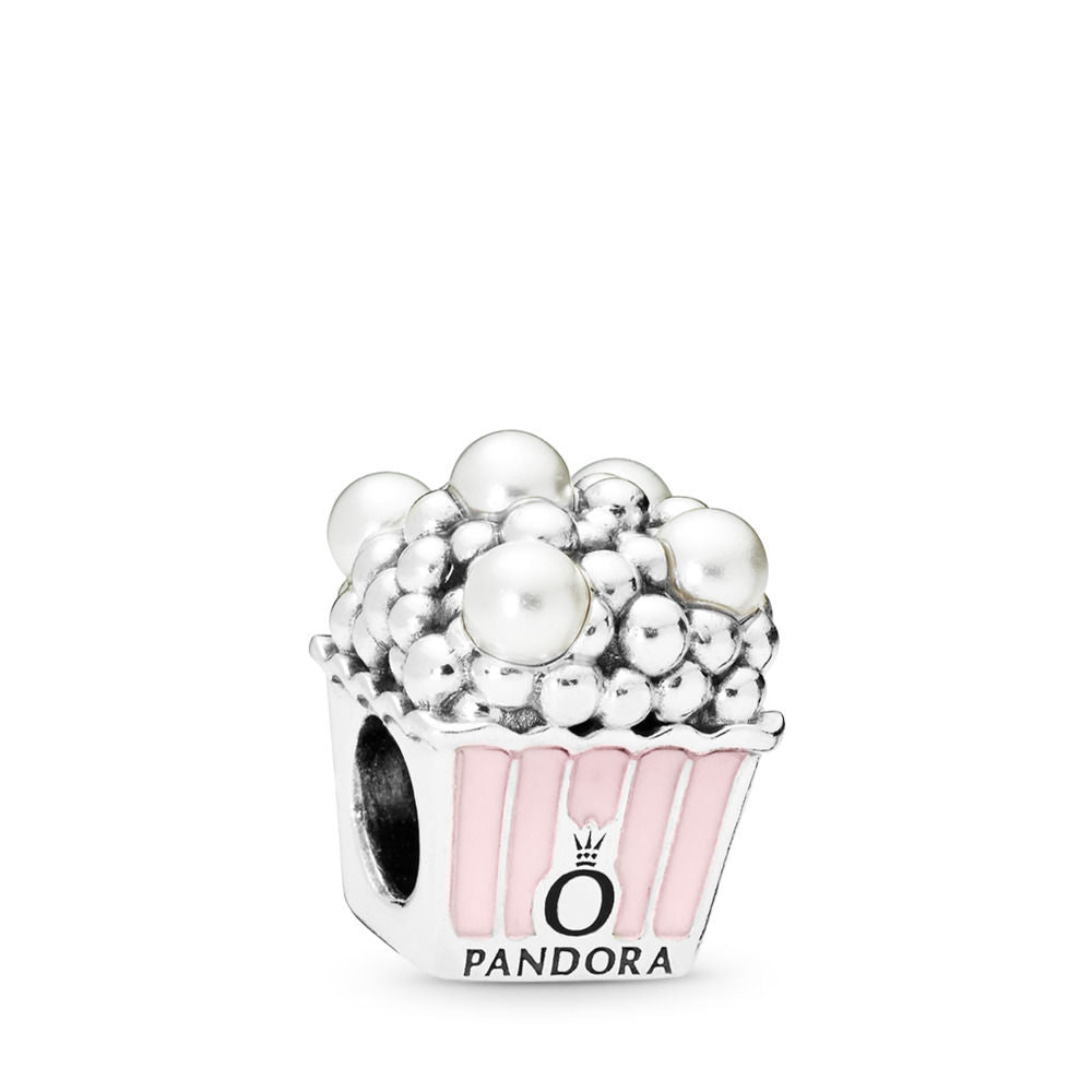 Pandora Delicious Popcorn Charm, Pale Pink Enamel & White Crystal Pearls