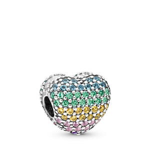 PANDORA Open My Heart Pavé Clip, Multi-Color CZ