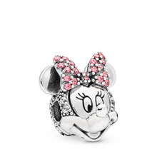 Load image into Gallery viewer, Pandora Disney, Shimmering Minnie Portrait Clip, Clear CZ & Pink Enamel