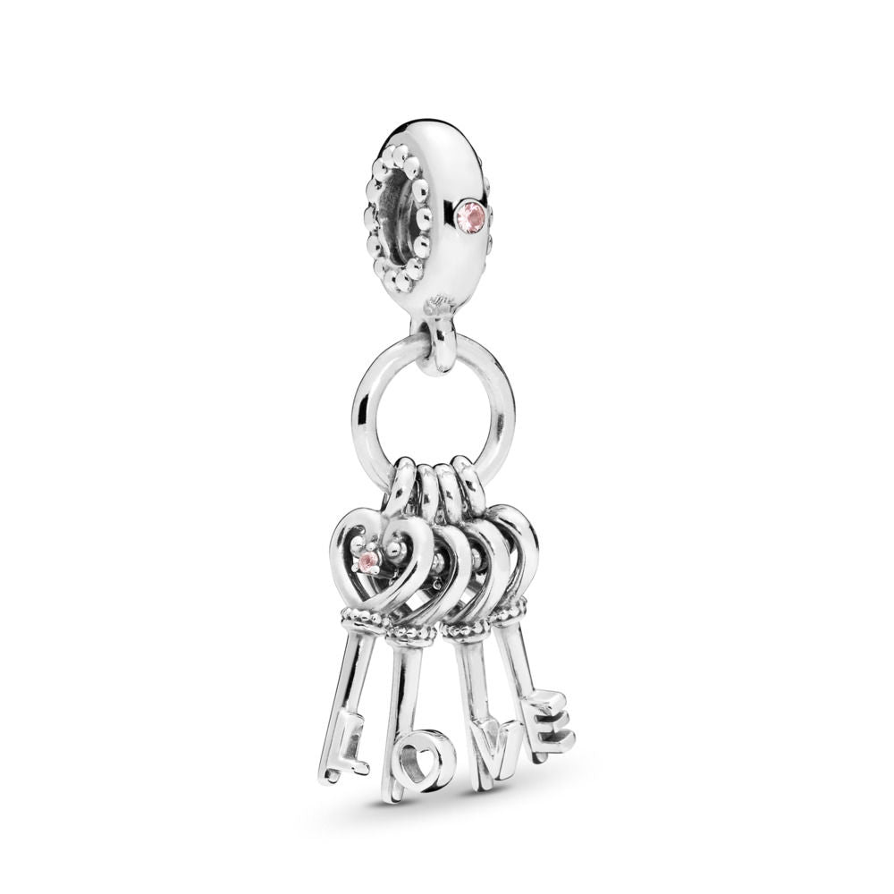 PANDORA Keys of Love Dangle Charm, Red CZ & Multi-Colored Crystals