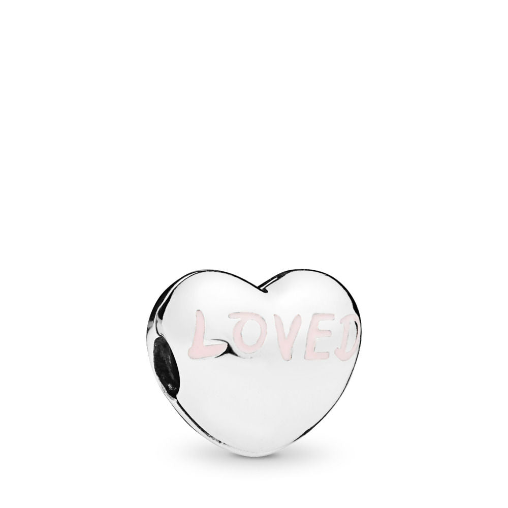 PANDORA Loved Heart Charm, Powder Pink Enamel