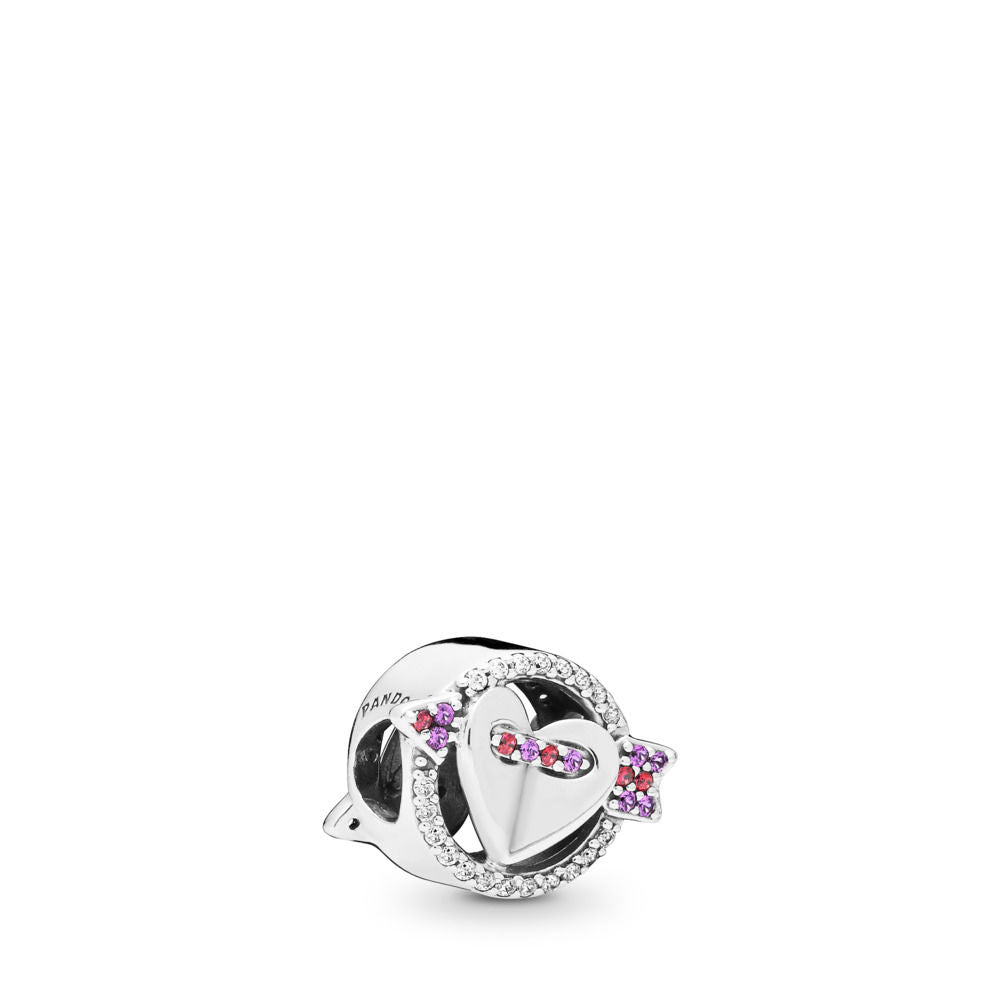 PANDORA Sparkling Arrow & Heart Charm , Red & Clear CZ, Royal Purple Crystals