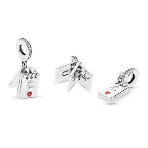Pandora Love Notes Charm, Clear CZ & Crimson Red Enamel
