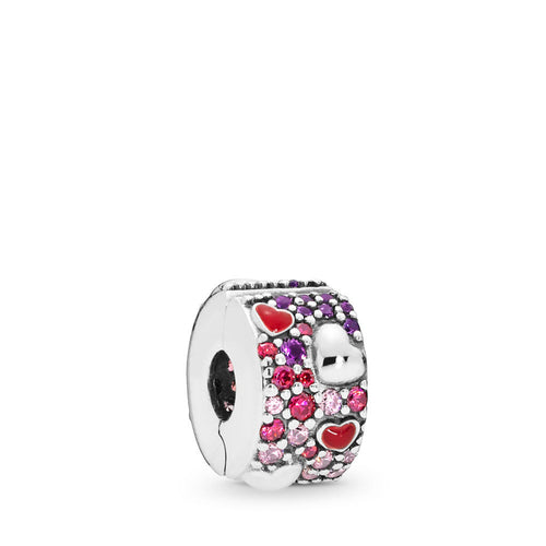 Pandora Asymmetric Hearts of Love Charm, Red & Pink CZ, Royal Purple Crystals, Crimson Red Enamel