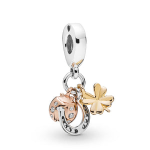 Pandora Horseshoe, Clover & Ladybird Dangle Charm