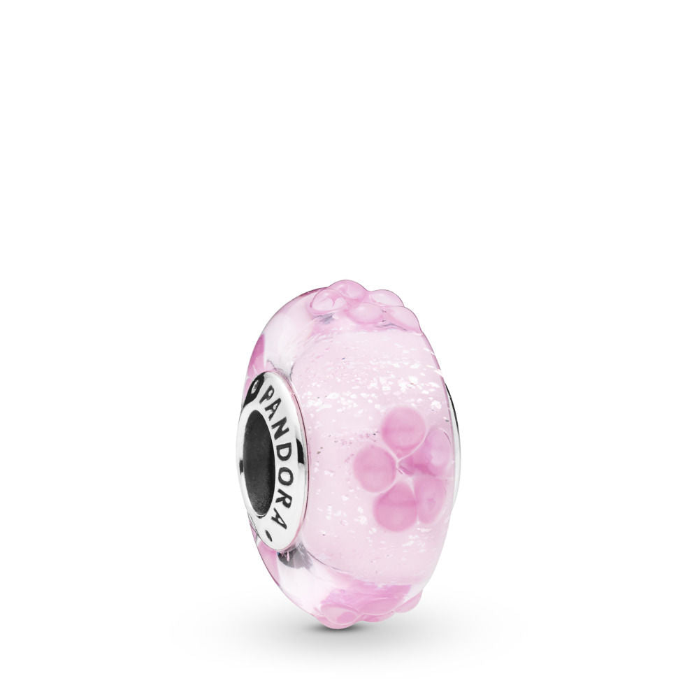 Pandora Pink Flower Glass Charm