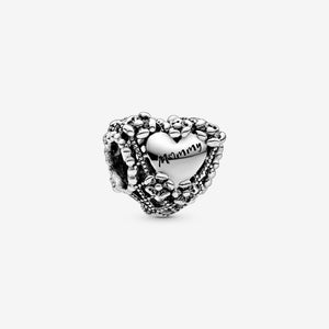 Openwork Flower Heart Mommy Charm