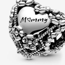 Load image into Gallery viewer, Openwork Flower Heart Mommy Charm