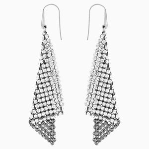 FIT PIERCED EARRINGS, GRAY, RHODIUM PLATED