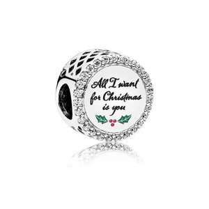 Pandora All I Want for Christmas Charm, Clear CZ