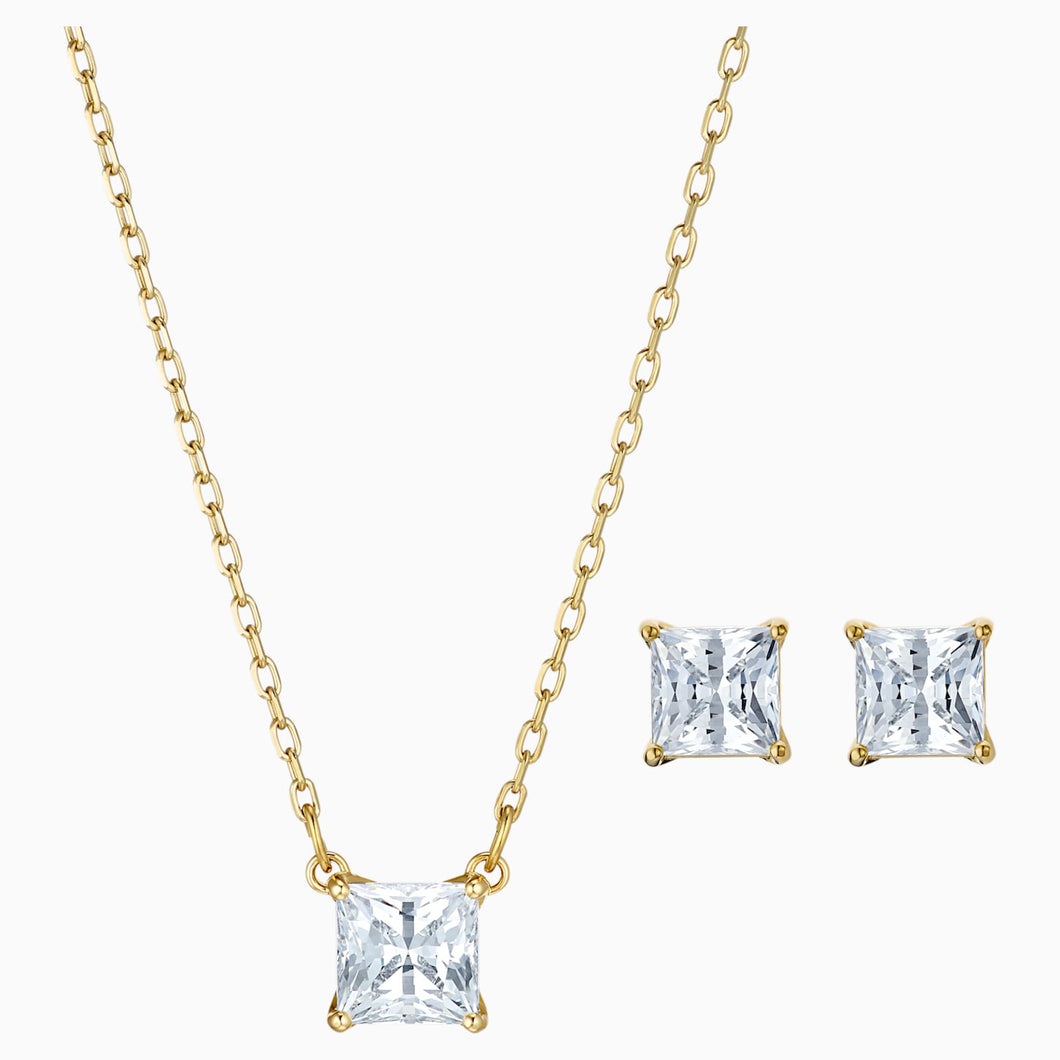 ATTRACT SET, WHITE, GOLD-TONE PLATED