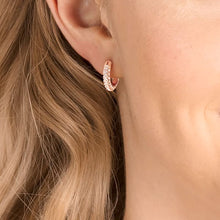 Load image into Gallery viewer, Swarovski Stone Pierced Earrings, Pink, Rose-gold tone plated
