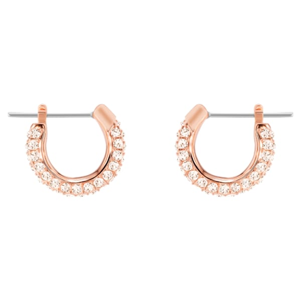 Swarovski Stone Pierced Earrings, Pink, Rose-gold tone plated
