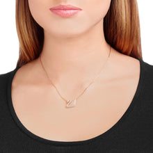 Load image into Gallery viewer, SWAN NECKLACE, WHITE, ROSE-GOLD TONE PLATED