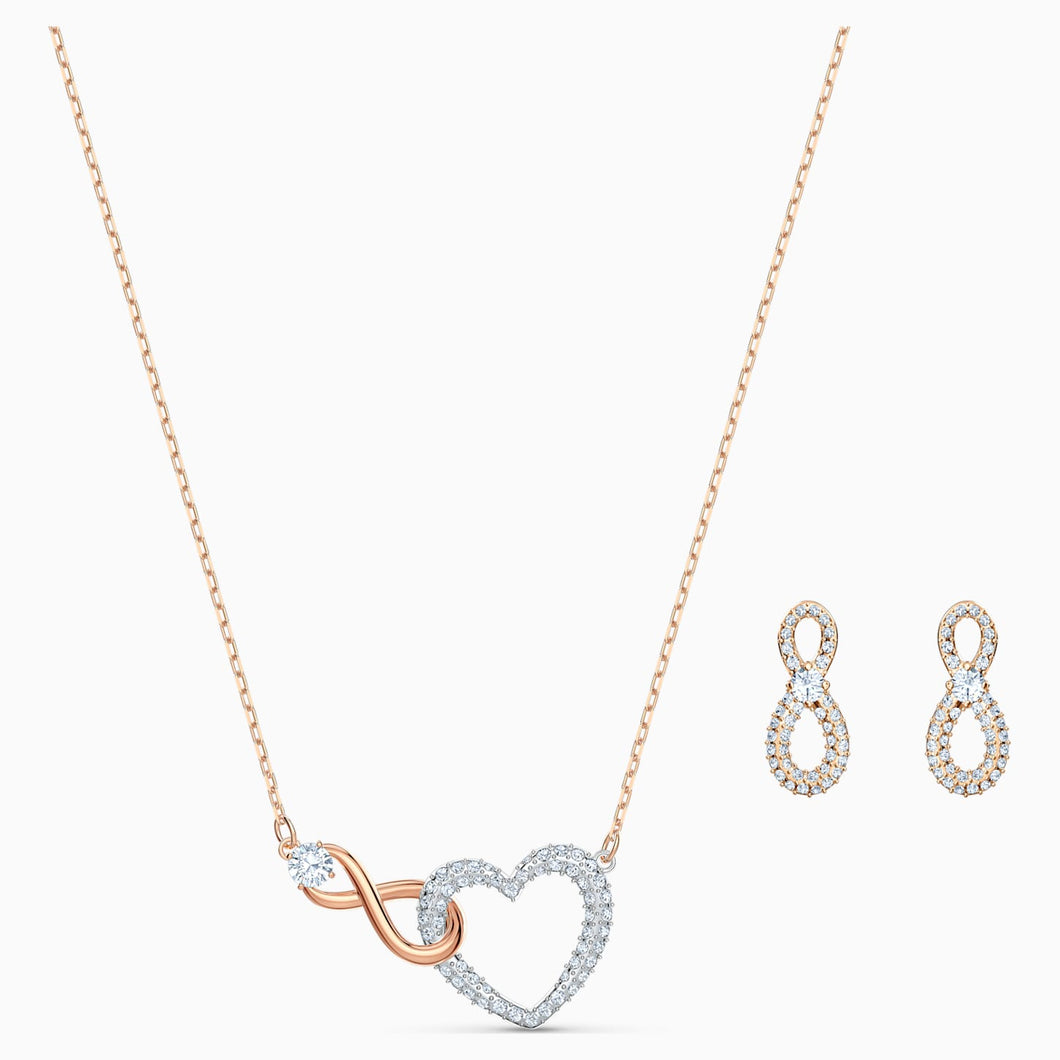 SWAROVSKI INFINITY HEART SET, WHITE, MIXED METAL FINISH