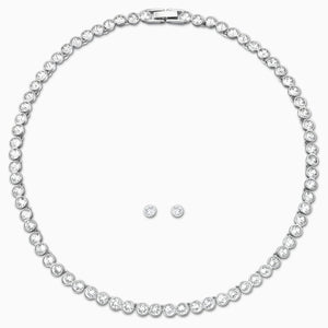 TENNIS SET, WHITE, RHODIUM PLATED