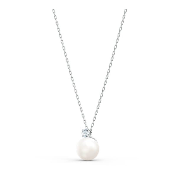 Swarovski Treasure Pearl Necklace, White, Rhodium plated