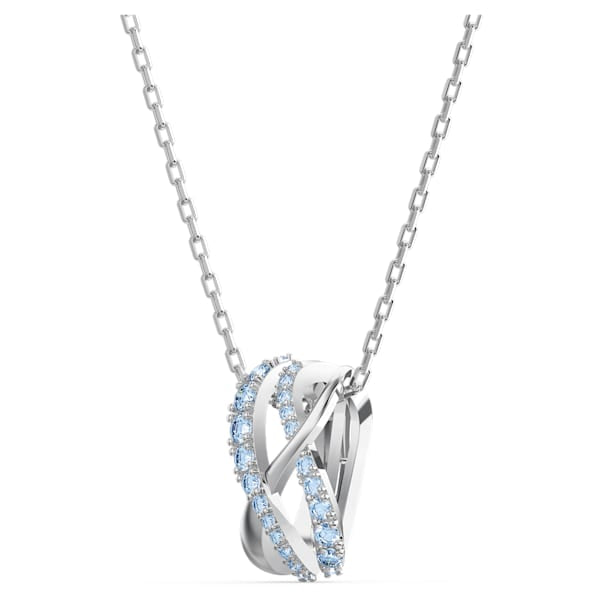 Swarovski Twist Rows Pendant, Blue, Rhodium plated