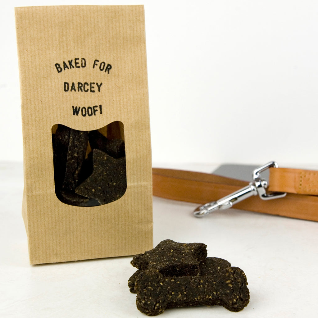 'Baked For' Dog Treats in a Personalised Bag
