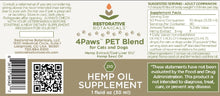 Load image into Gallery viewer, restorative botanicals 4Paws Pet Blend back label