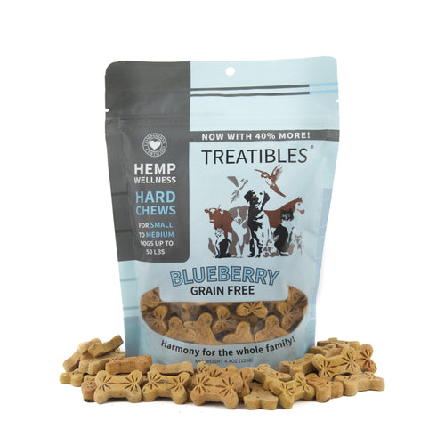 TREATIBLES - FULL SIZE – SMALL BLUEBERRY HARD CHEWS (2 OPTIONS AVAILABLE) – CANINE