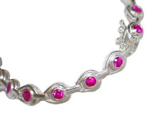 Pink Sapphire Bracelet Gorgeous Stones set in Sterling