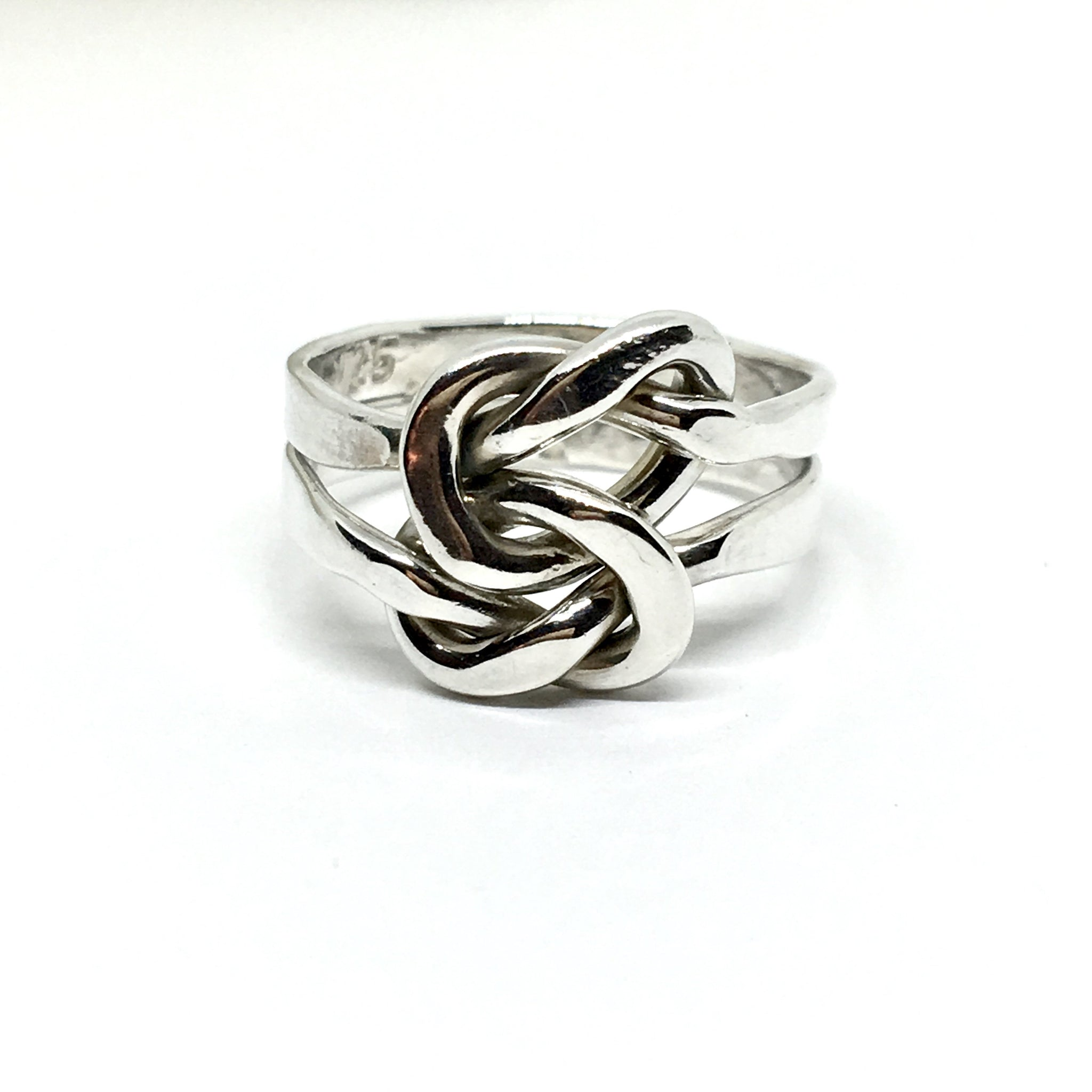 Knot Ring Interlocking Stacked Design Band Solid Silver 6 75 Great Deal Blingschlingers Jewelry