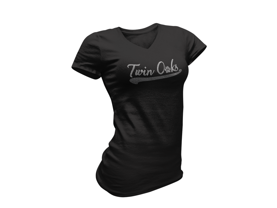 Twin Oaks Women's Baseball Tee with Bling